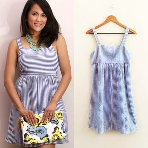 LOFT Striped Blue White Casual Cotton Dress